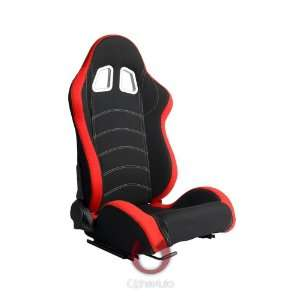 Cipher Auto Black & Red Universal Racing Seats (Two Seats