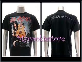 Sz L SLASH GUN N ROSES T shirt Rock Music Skull Metal