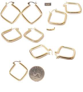 Stunning Large 14K Gold Square Hoop Estate Earrings