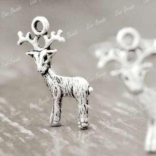 30pcs Tibet Style Tibetan Silver Buck Deer Charm Pendant Drop Findings