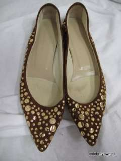 Sigerson Morrison Brown Suede Gold Studded Flats 6.5 B