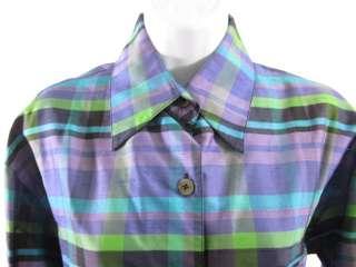 CLASSIQUES ENTIER Silk Purple Blue Top Blouse Sz M