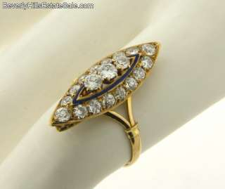 Antique Art Deco Enamel 1.2C Diamonds 18k Gold Ring