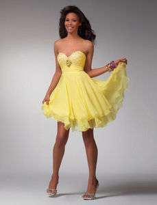 In Stock Yellow Short Cocktail dress/Prom gown Sz 6 16
