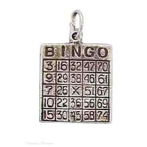 Sterling Silver 3D Bingo Card Good Luck Charm Jewelry