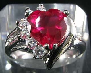 3mm Heart Cut Red Ruby White Gold P Cocktail Ring 8