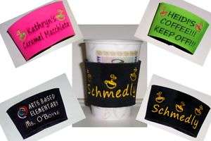 PERSONALIZED embroidered COFFEE CUP KOOZIE Holder