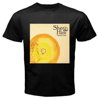 SHE AND & HIM VOLUME ONE NEW HOT RARE BLACK T SHIRT TEE