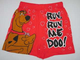 SCOOBY DOO! Ruv Ruv Me Doo! Love Heart Mens Cotton Boxer Shorts Size