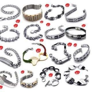 Men Black Cross Stainless Steel Bracelet Charm Gift
