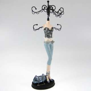 Sequined Top Doll Mannequin Jewelry Stand Organizer Tree Denim w/purse