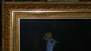 ANTIQUE 1880s PAINTING PEACOCK & FLOWERS W GILT FRAME