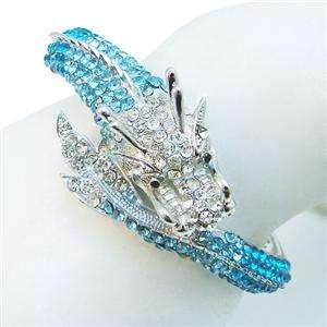 Bold Dragon Bangle Bracelet Blue Rhinestone Crystal Cuff Animal
