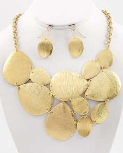 Scratched Gold Tone Necklace Earring Design Panel Bib Hip Trendy