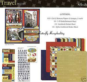 TRAVEL VACATION 12X12 Scrapbooking Kit Paper Studio NEW