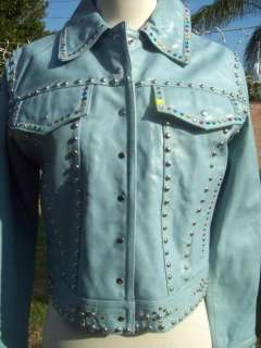 Baby Blue Maxima Studded Rhinestone Leather Jacket FUNKY Medium M Las