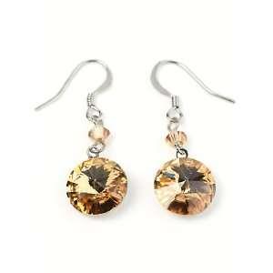 Topaz Swarovski Crystal Disc Dangle Earrings Fashion Jewelry Jewelry