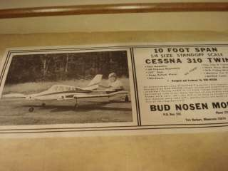 BUD NOSEN CESSNA 310 TWIN RADIO CONTROLLED MODEL AIRPLANE KIT