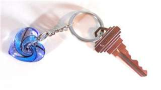 HOT NEW MURANO BLUE GLASS HEART KEYCHAIN  GIFT BOXED GREAT GIFT GREAT