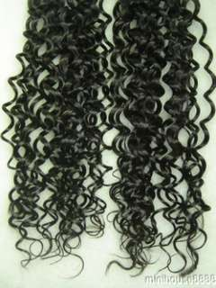 100s 20 Natural Black Curly Human Hair Extension #1B