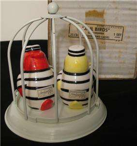VINTAGE JAIL BIRDS SALT & PEPPER SHAKERS W/WIRE CAGE by FITZ & FLOYD