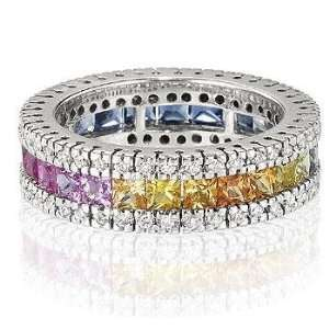 : 14k White Gold Rainbow Sapphire 1/2 Carat Diamond Ring 10: Jewelry