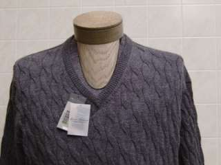 New Daniel Cremieux 100% Royal Alpaca Wool Men Sweater V Neck Cable