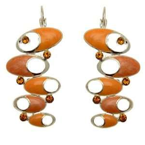 Acosta Jewellery   Orange Enamel & Crystal   Abstract Oval