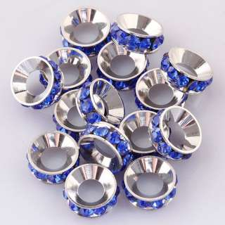 Ws037 Dark Blue Crystal Spacer Beads Fit Bracelets 10pc