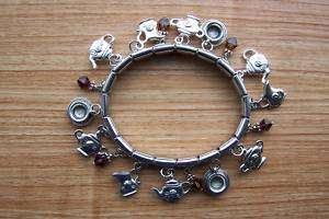 Tea Theme Charm Bracelet With Swarovski Crystal