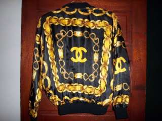 vtg CHANEL 31 Rue Hip Hop style Windbreaker Jacket Gold Chains Logo