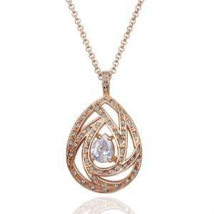 Rose Gold Hollow Inlaid Crystal Exquisite 18k Gold Plated Necklace