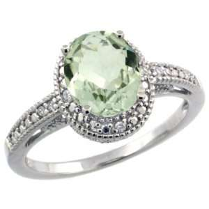 Sterling Silver Vintage Style Oval Green Amethyst Stone Ring w/ 0.063