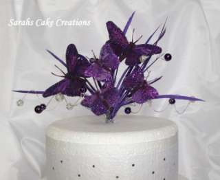 Wedding Decorations on Rich Purple Butterfly Cake Topper Wedding Birthday Decoration