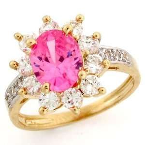 10k Solid Gold Pink CZ October Birthstone Ring Jewelry Jewelry
