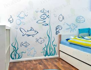 Nursery Kids Bathroom Fish Wall Decor Decals Stickers