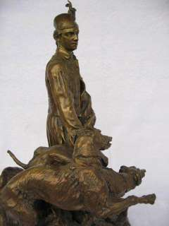 SOLID ORGINAL BRONZE SCULPTURE. ABSTRACT ghillie with two deerhounds