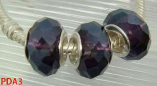 Deep Purple Faceted Glass Beads Fit European Charm Bracelet 5mm Hole