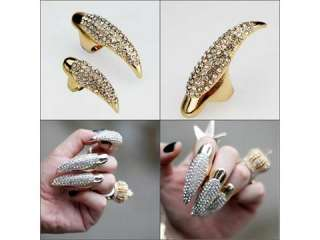 1pc Vintage punk gold claw ring finger nail rings full crystal 14mm