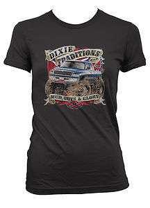 Mud Guts And Glory Monster Truck Junior Girls T shirt Southern Rebel