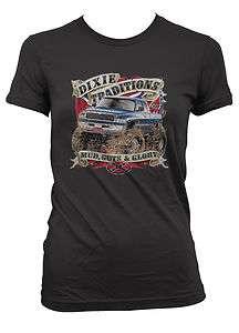 Mud Guts And Glory Monster Truck Junior Girls T shirt Southern Rebel