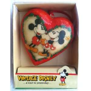 Disney MICKEY & MINNIE MOUSE Paper Mache Heart Ornament Home