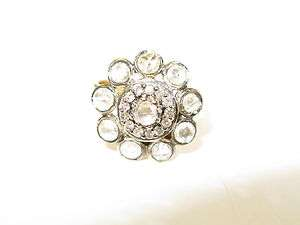YELLOW GOLD PAVE NATURAL DIAMOND RING VINTAGE BRIDAL ESTATE JEWELRY