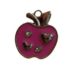 12x DIY Jewelry Making   Pink Apple with Hearts and Rhinestone Design