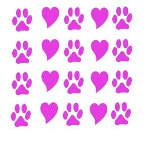 20 Paw Prints and Hearts Pink Dog Lover Vinyl Decal