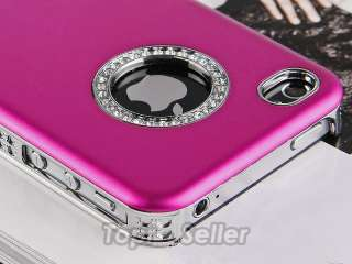 Rose Red Luxury Bling Diamond Case Cover For iPhone 4 4S 4G + Free