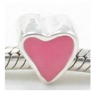 Script Love with Pink Heart Charm Jewelry Pandora Beads Style Jewelry