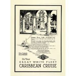 1923 Ad Caribbean Cruise Great White Fleet Fruit Ship Boat