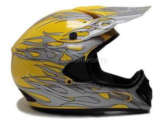 YELLOW FLAME DIRT BIKE OFF ROAD ATV MOTOCROSS HELMET ~M