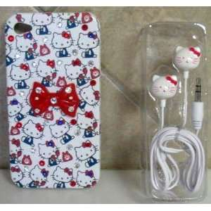 HELLO KITTY IPHONE CASE IPHONE 4G CASE & EARBUDS W/ SWAROVSKI CRYSTAL